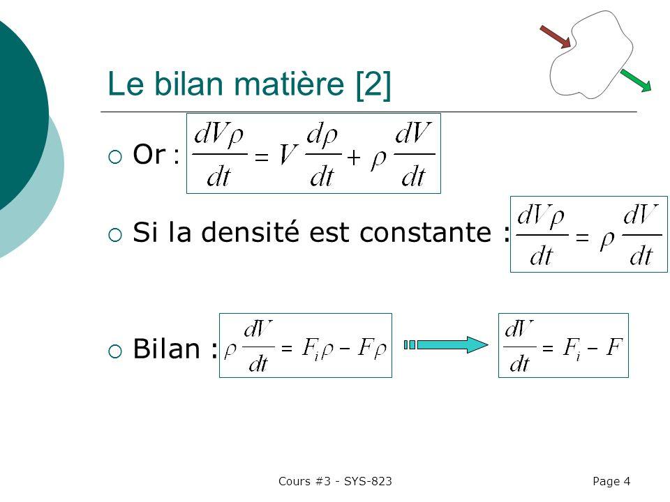 Le bilan matière [2] Or : Si la densité est constante : Bilan :